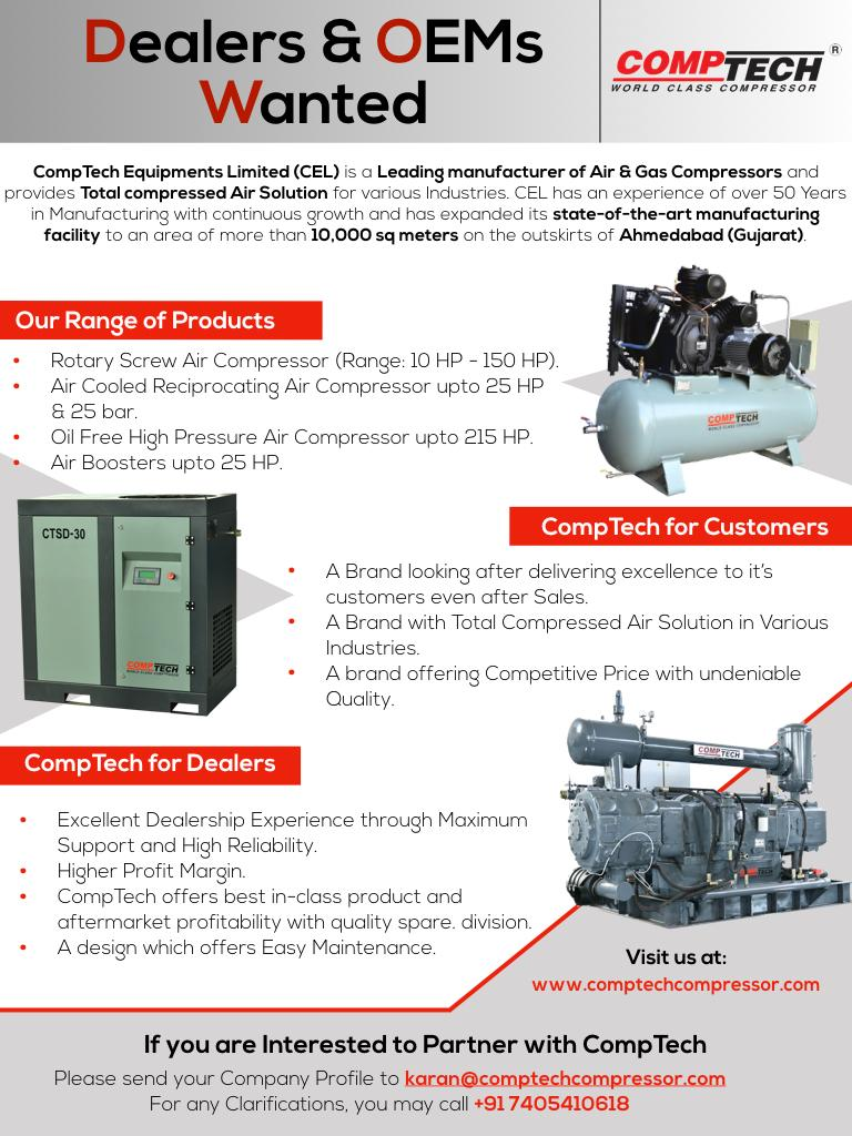 Comptech Air Compressors is seeking dealers and oems all over India