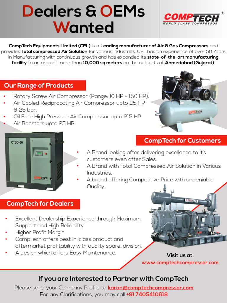 Comptech Air Compressors is seeking Dealerships and OEMS for their range of Air Compressors