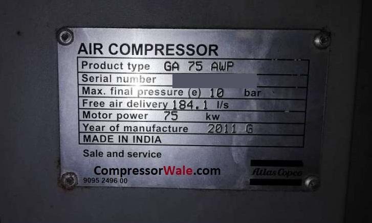 Second Hand Atlas Copco ga75 Screw Air Compressor, Surat, Gujarat