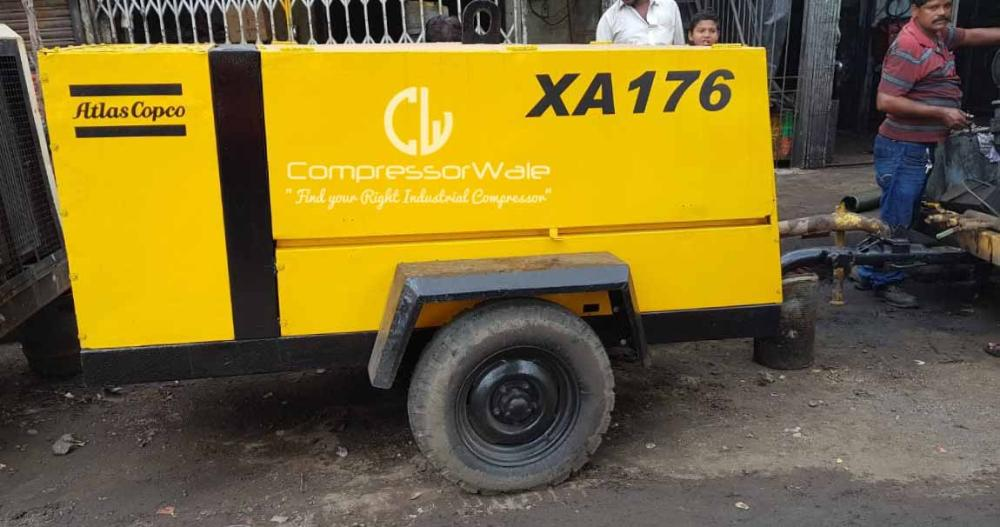 Second-Hand Atlas Copco XA176 Diesel Engine Driven Portable Screw Air Compressor for Sale in Mumbai