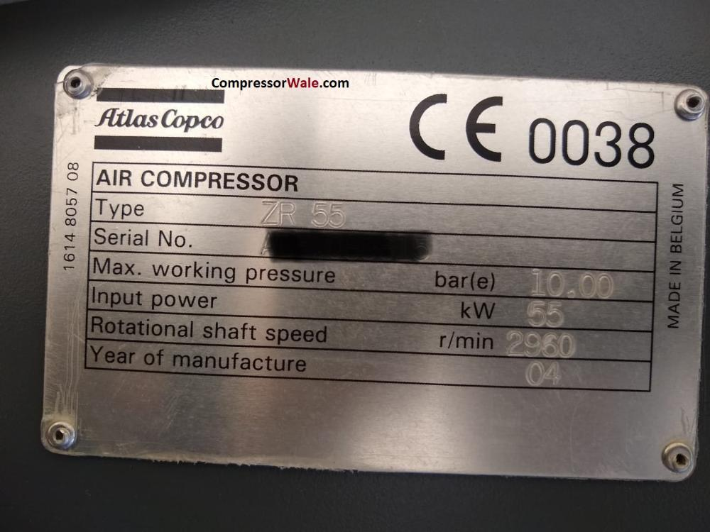 Second Hand Atlas Copco oil free screw compressor ZR 55