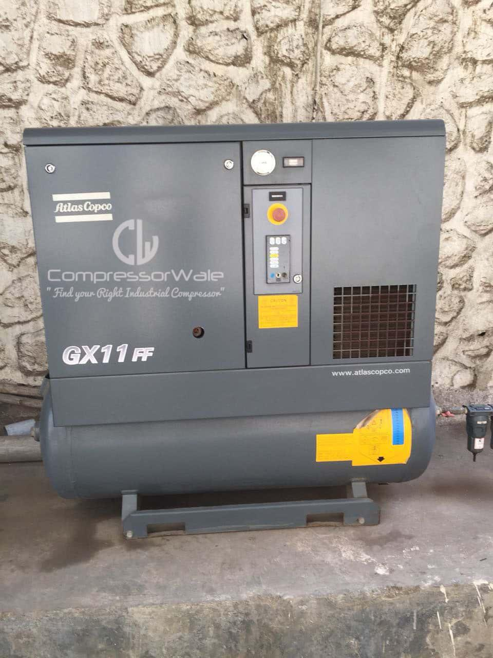 Good as new 2015 year model Atlas Copco GX11 Screw Air compressor with inbuilt dryer and tank mounted