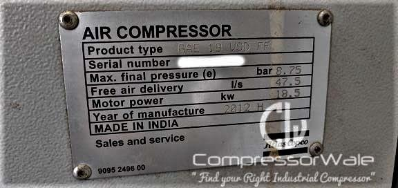 Atlas copco GAE18 VSD FF 25HP at 8.75 Bar Screw Air Compressor second hand for sale