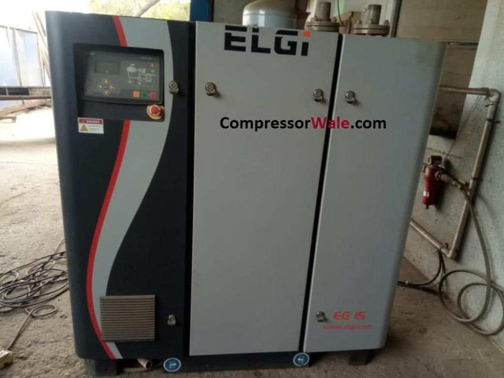 Second Hand Used Elgi EN15 15Kw 20HP Screw Air Compressor, Gujarat