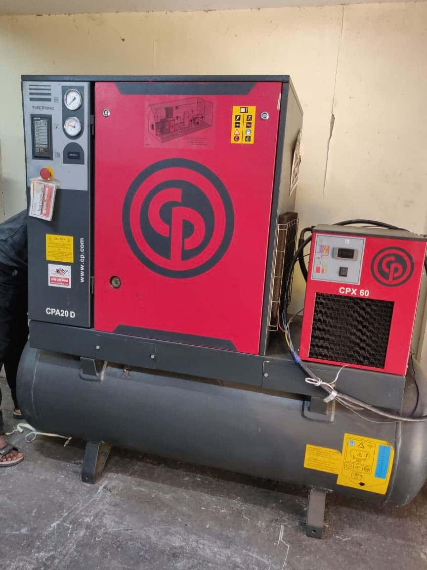 Used Chicago Pneumatic Screw Compressor 20HP at 10 Bar India with filters and dryer
