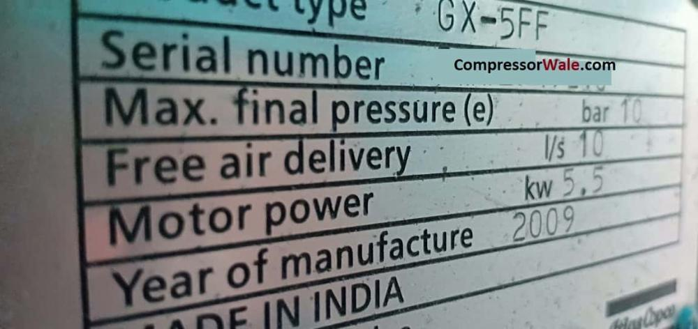 Second Hand GX5FF 5Kw 7.5HP Screw Air Compressor, Delhi