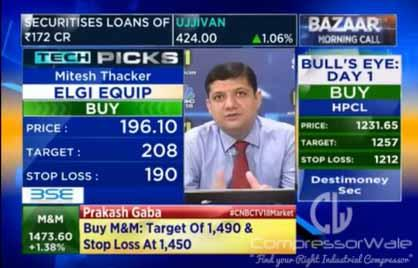 Mitesh Thacker is of the view to buy ELGI Equipments